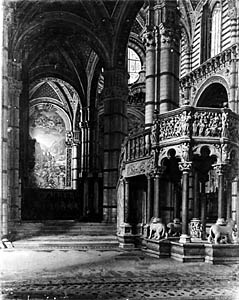 ALEKSANDER GIERYMSKI (1850-1901)  Interior of the Siena Cathedral, [c. 1898]  Oil on canvas, 79 x 64  Sign. b.r.: A.GIERYMSKI | ...  From 1942 owned by Wołkowicz (M.Sc) in Warsaw (previously owned by Jadwiga Korniłłowicz in Warsaw).  Lost between 1942-1944.  Negative MNW no. 2025; photo before 1939.  WAR004090