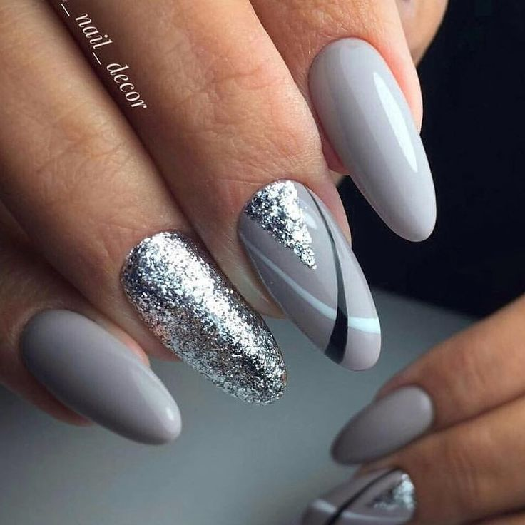 Silver gray nails with black and white detailing. Silver glitter ...