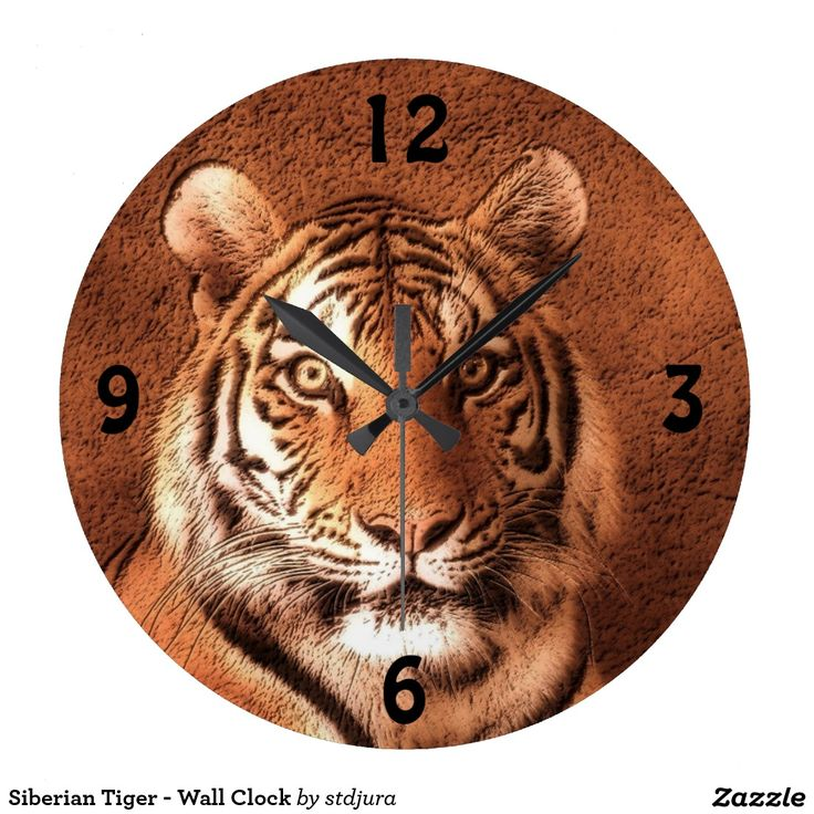 Siberian Tiger - Wall Clock  #SiberianTiger #wildlife #WallClock #clock #time #cats #tiger #zazzle