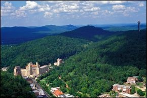 Hot Springs National Park surrounds the north end of the city of Hot Springs, Arkansas.