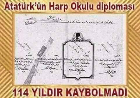 İşte Atatürk'ün Harp Okulu Diploması