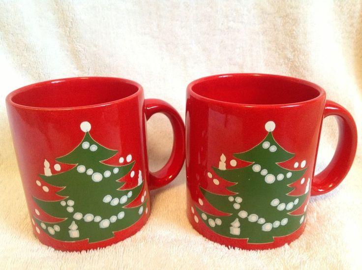 Waechtersbach Christmas Tree Red Mugs West Germany~~~ Set of 2~~~ VINTAGE