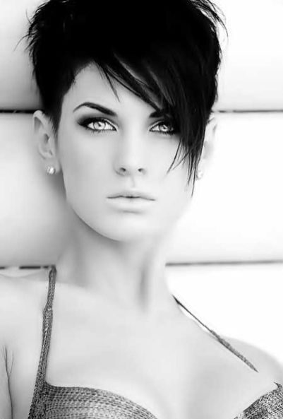 Funky short pixie haircut with long bangs ideas 86