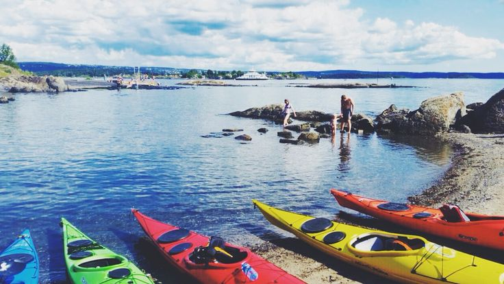 beauty of norway. kayaking the fjords - awesome experience. oslo fjord as seen from a kayak
