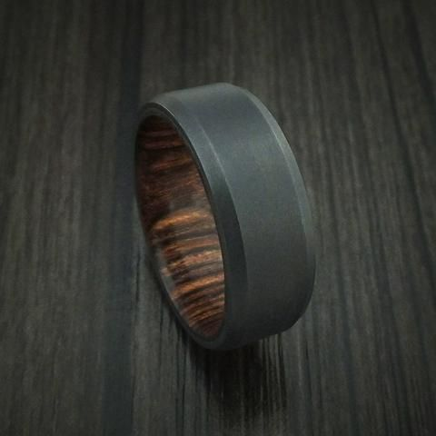 Gibeon Meteorite in Black Zirconium Wedding Band