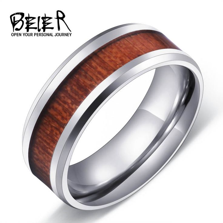 Cool Man's Red Wood Ring For Man Stainless Steel Men's Fashion Ring High Polished Wedding Ring BR-R003
