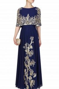 Navy blue embroidered panel cape kurta