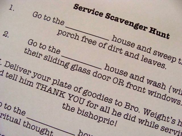 Great youth group idea.  Only issue is I would give the Bible out instead.  :): Youth Group, Activity Idea, Hunt Yw, Scavenger Hunts, Service Idea, Group Ideas, Young Women, Service Project, Service Scavenger Hunt