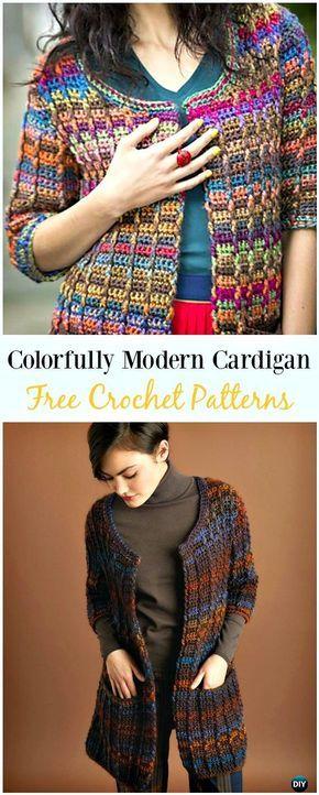 Crochet Colorfully Modern Cardigan Free Pattern Crochet Women