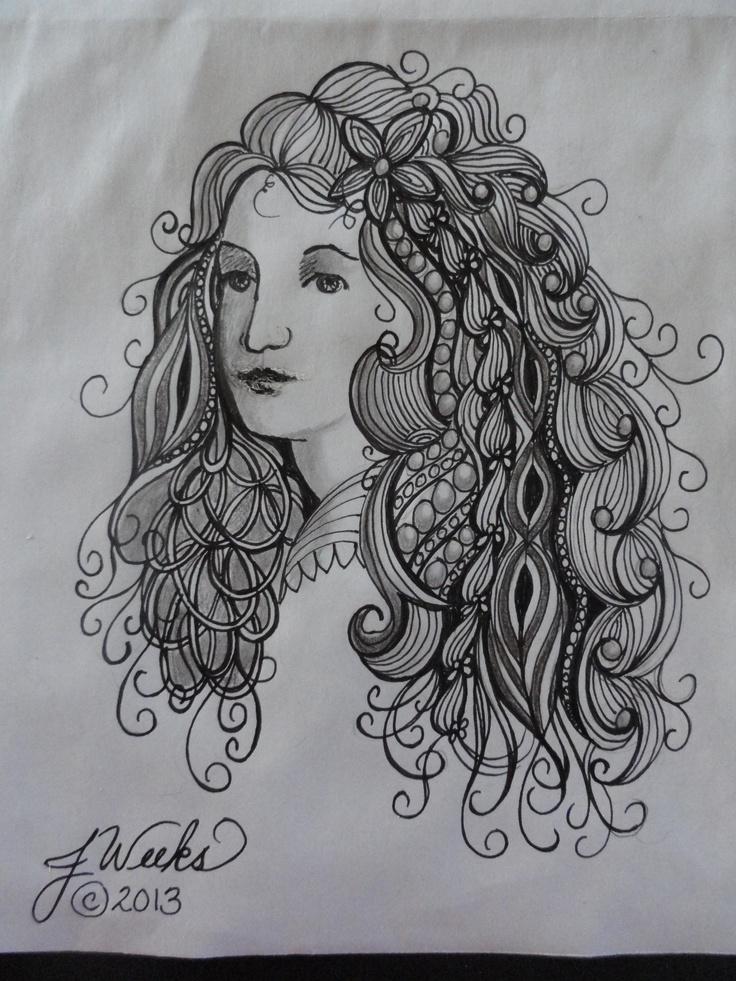 168 best zentangle hair images on pinterest mandalas for Doodle art faces