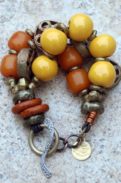 Bracelet | Kelly Conedera ~XO Gallery. Exotic and Earthy African-Inspired Amber Resin, Yellow Terra Cotta and Brass