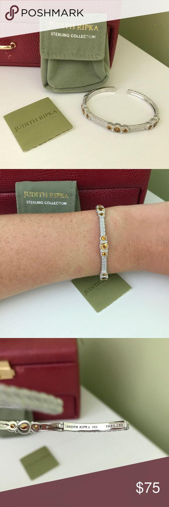 JUDITH RIPKA STERLING CITRINE HINGED CUFF BRACELET JUDITH RIPKA STERLING CITRINE HINGED CUFF BRACELET NEW SIZE SMALL. Judith Ripka Jewelry Bracelets