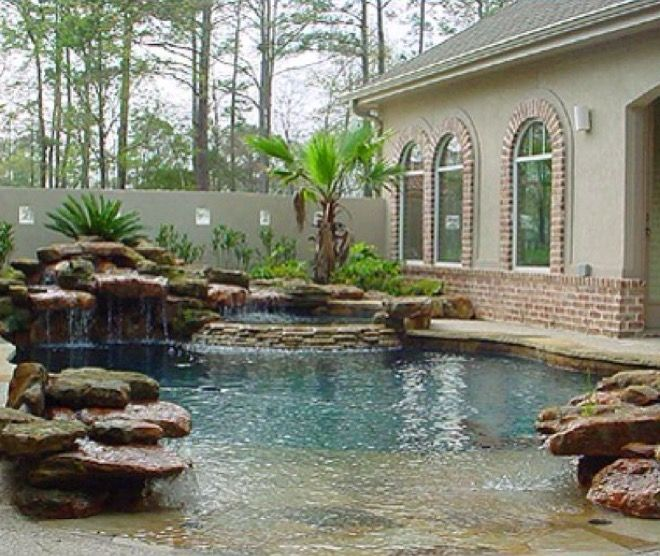 Backyard Pool, Natural Pool, Pool Waterfall