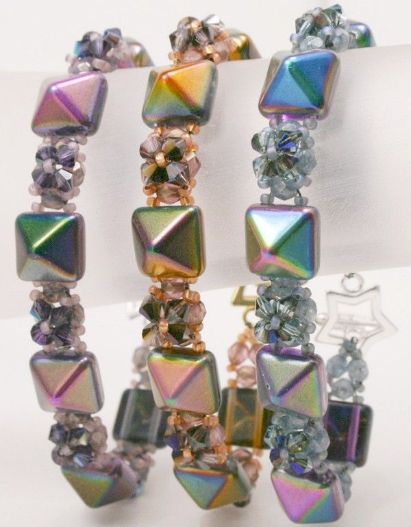 Deb Roberti's FREE Pyramid Bands done in new Czech 12mm Pyramid Beadstuds magic colors.