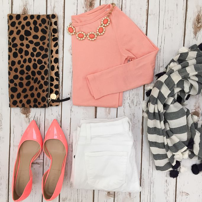 White jeans, peach tee, leopard clutch, striped scarf, neon pumps, white purse // http://www.stylishpetite.com/2015/04/daily-outfits-recent-purchases-and-bow.html