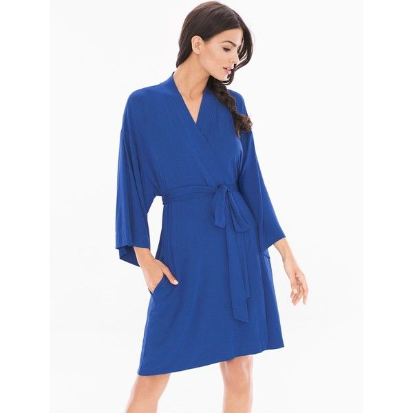 Soma Cool Nights Short Robe ($49) ❤ liked on Polyvore featuring intimates, robes, blue, bright blue, sleepwear & loungewear, short robe, blue dressing gown, blue robe, short bath robe and short dressing gown