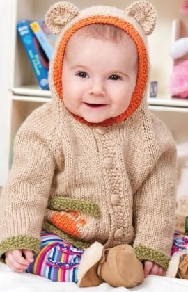 Baby Bear Hoodie Free Knitting Pattern from Red Heart Yarns