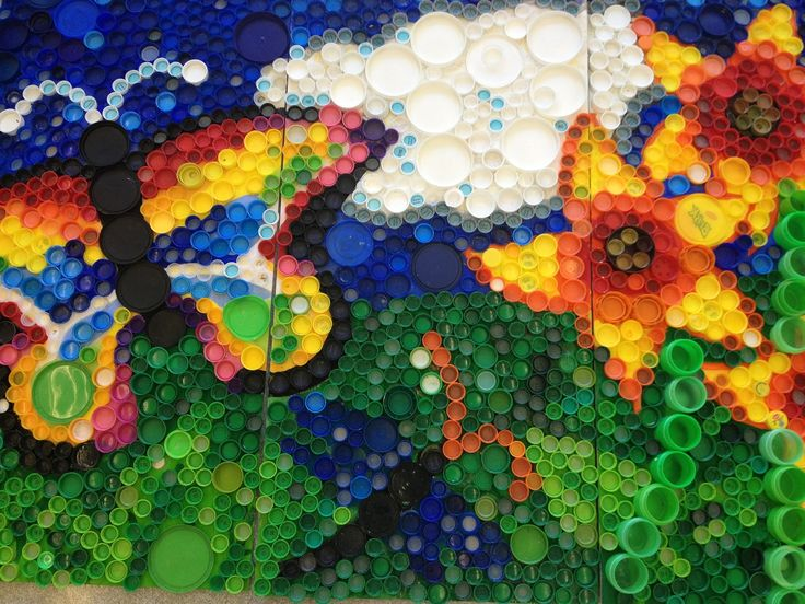 17 best images about art murals on pinterest recycled for Bottle cap mural