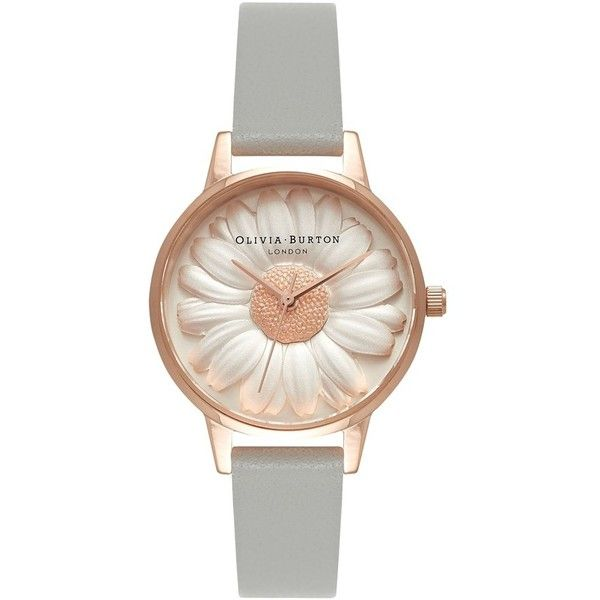 Women's Olivia Burton 'Flower Show' Leather Strap Watch, 30Mm (1,460 GTQ) ❤ liked on Polyvore featuring jewelry, watches, flower jewelry, fancy watches, olivia burton, daisy jewelry and flower watches