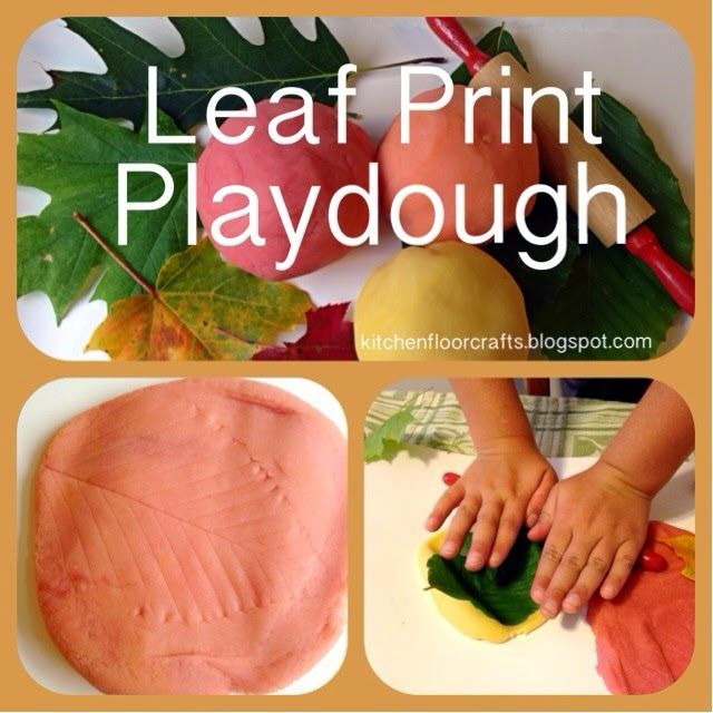 Kitchen Floor Crafts: Leaf Print Playdough Repinned by Apraxia Kids Learning. Come join us on Facebook at Apraxia Kids Learning Activities and Support- Parent Led Group.