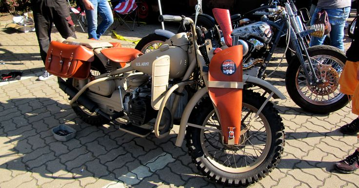 A rare Harley XA-750, a military bike with a boxer engine.
