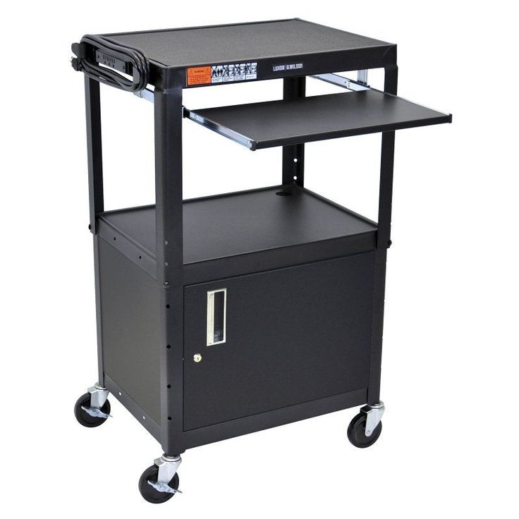 offex movable steel height adjustable av cart with lockable storage cabinet pullout keyboard tray and electric casters black