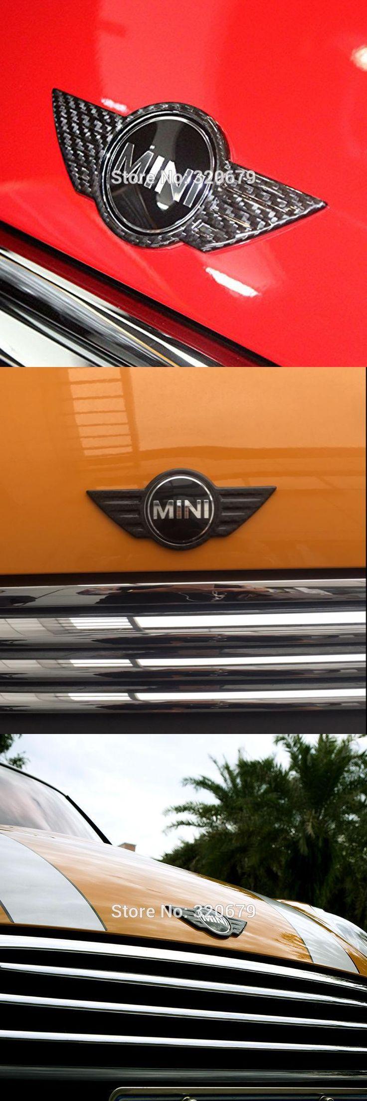visit to buy mini cooper car carbon fiber sticker deacl exterior decoration cover emblem
