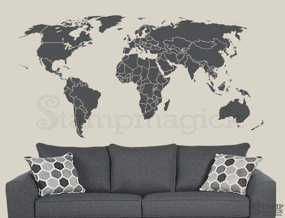 Huge Black World Map Wall Art Wall stickers living room UK reusable UK