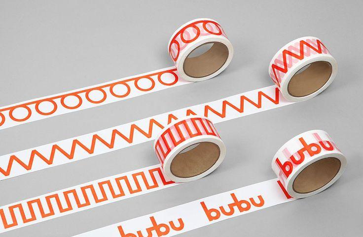 Box tape for Swiss binding specialists Bubu by graphic design studio Bob Design