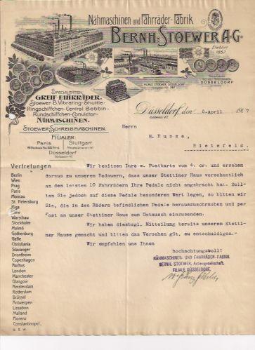 B Stoewer Stettin Düsseldorf Brief 1907 Nähmaschine Auto Fahrrad Schreibmaschine | eBay