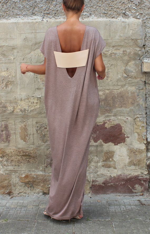 Backless Caftan Dress Mocha Oversized Dress by cherryblossomsdress
