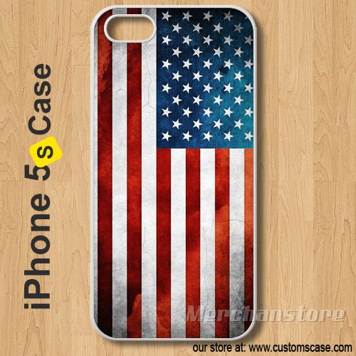 iPhone 5S Case USA Grunge Flag - Hard Cover