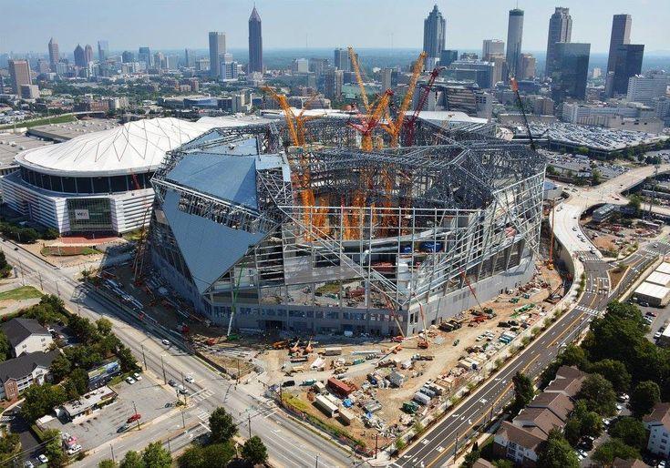 Construction Progress On The New Atlanta Stadium In Atlanta Georgina Usa With A Retractable Roof And Facade System Stadium Architecture New Atlanta Atlanta