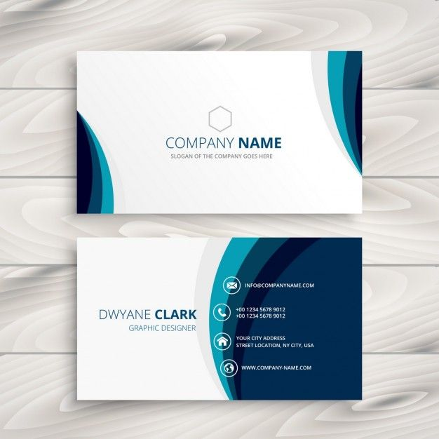 Blue wave business card design Free Vector