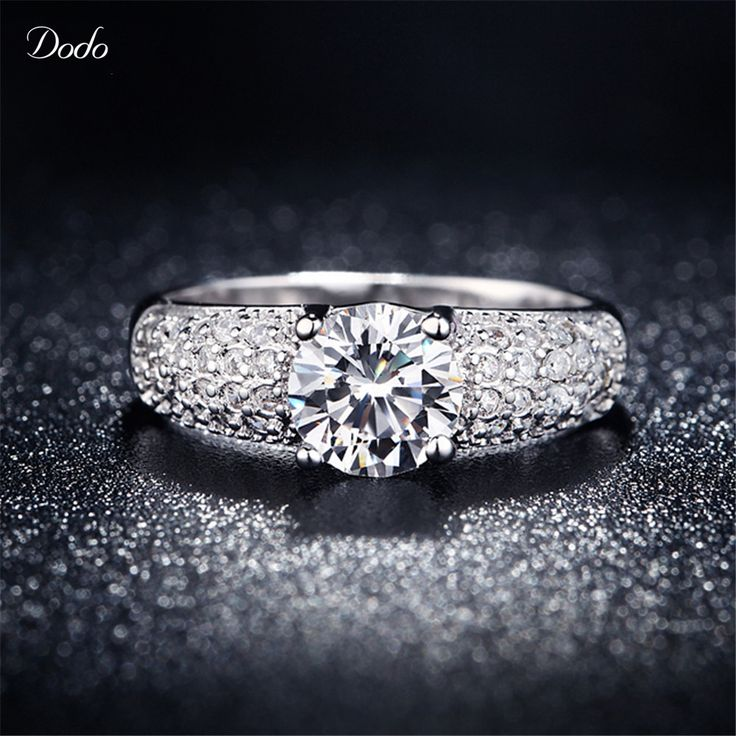 White Gold plated Rings For Women Wedding Aneis Accessories Bijoux CZ Diamond Jewelry Anel Engagement Bague Anillos Size 5 10 24