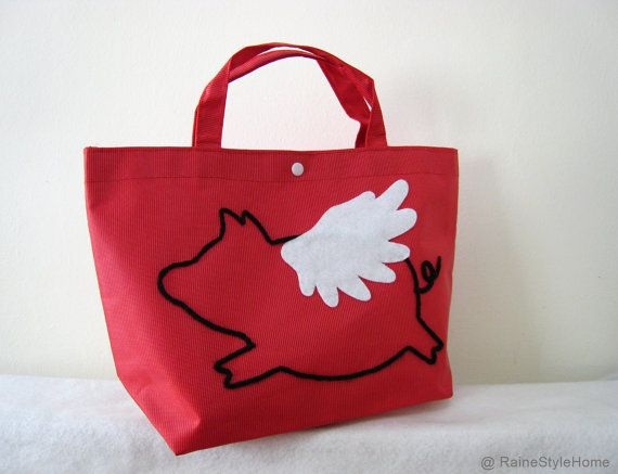 When Pig Flys Small Tote Bag. Weekend Bag. Yarn Hand Embroidery    Cute Children Lunch Bag