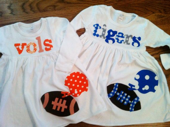 Football Dress - Toddler Dress - Football Applique  Dress- You Choose Your Team Mascot and Colors