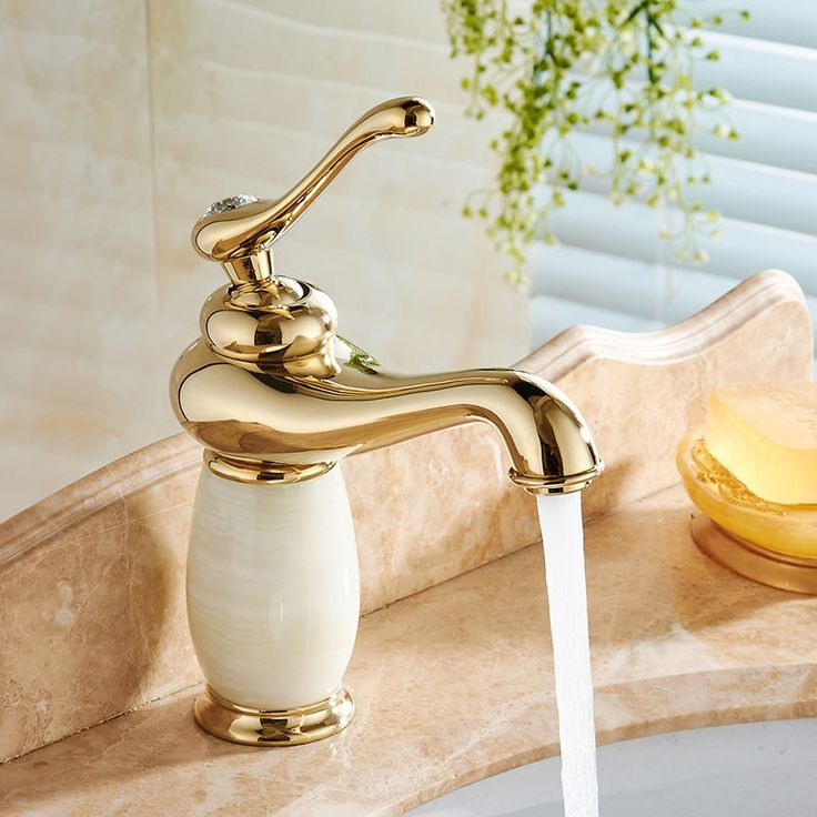 87.95$  Buy here - http://alikmz.shopchina.info/1/go.php?t=32804594297 - Free Shipping Luxury Brass Bathroom Faucet Cabinet Sink Basin Mixer Tap Cold Hot Water taps Gold Golden With Hardstone 22C1372 87.95$ #buyonlinewebsite