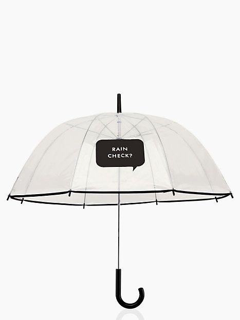 "umbrella - kate spade New York I think this umbrella is so cute! I love the ""Rain Check"" on it and think it makes such a statement!!"