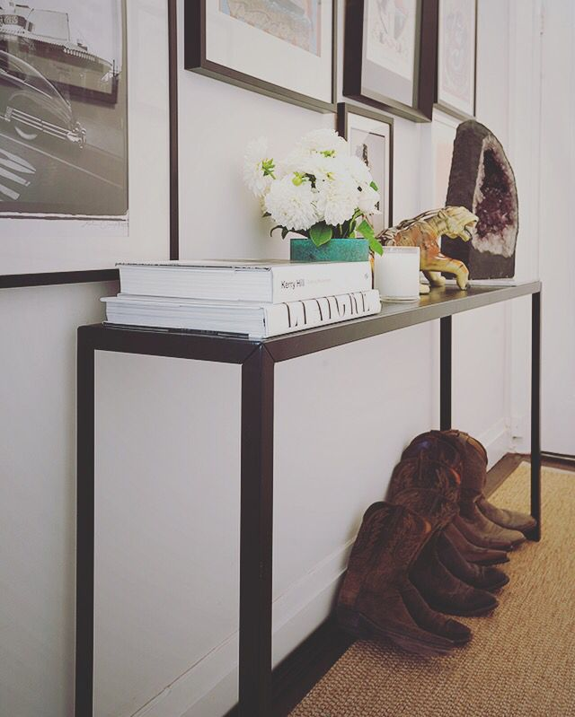 Hall table. Cowboy boots. Furniture design by Sarah Blacker Architect. Photo Anneke Hill.