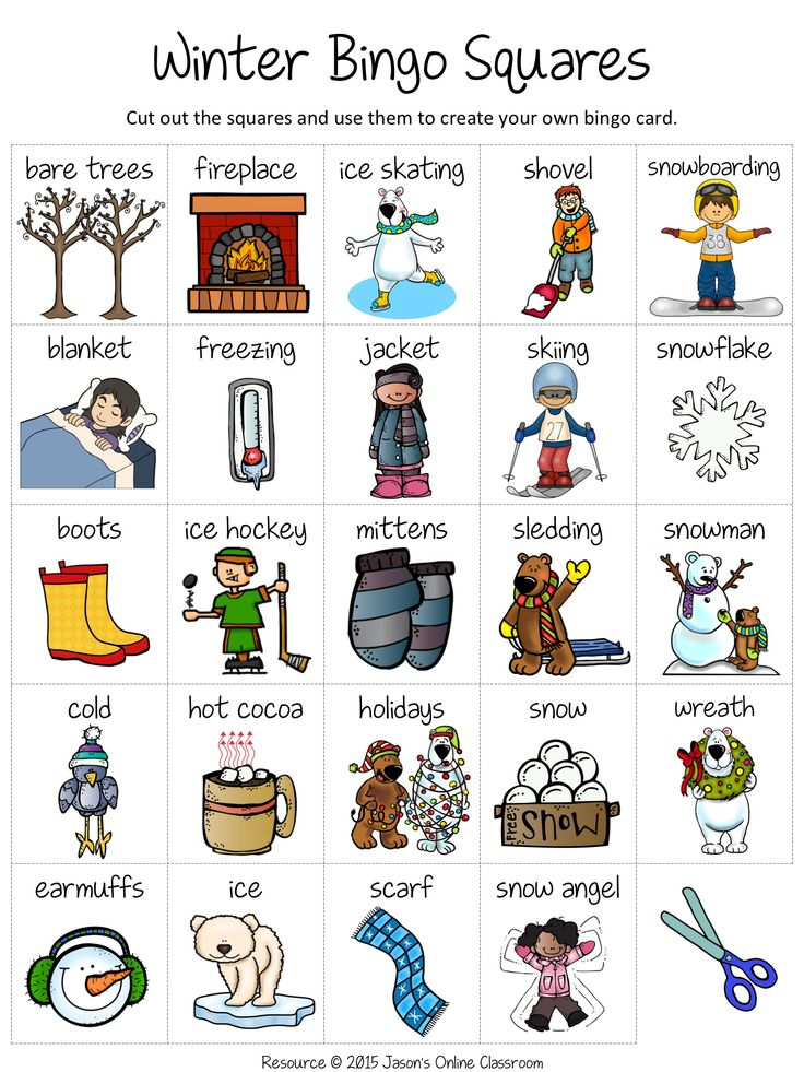 This is an image of Luscious Winter Bingo Cards Free Printable