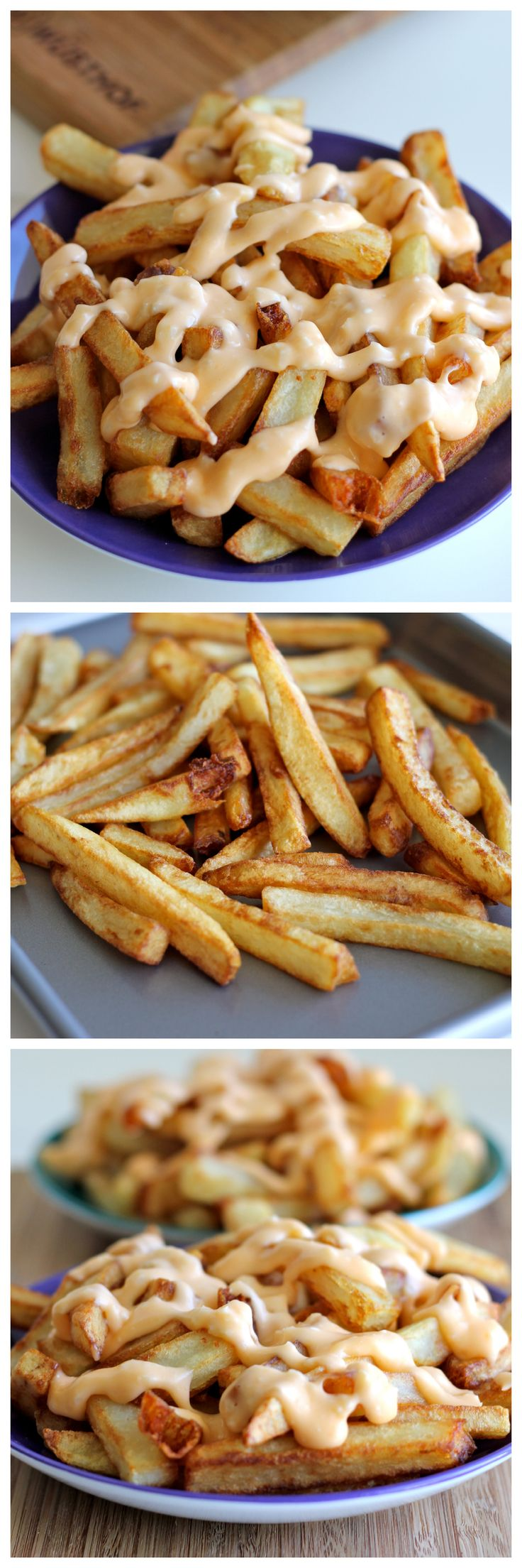 Garlic Cheese Fries - Perfectly double-fried french fries smothered in a garlic cheese sauce that can be made in 5 minutes!