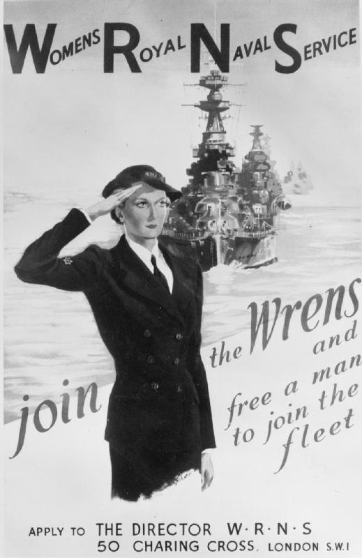 "WOMEN ON THE HOME FRONT 1939 - 1945  Poster recruiting women into the war effort: ""Join the WRENS and free a man to join the fleet."""