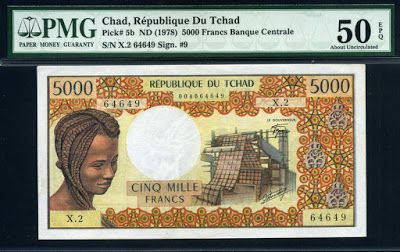 Currency of Chad 5000 Francs banknote of 1978, issued by the Bank of Central African States - Banque des États de l'Afrique Centrale (Central African CFA franc). African banknotes, Chad banknotes, Chad paper money, Chad bank notes,  French banknotes.  Obverse: Portrait of young African woman with afro braided hairstyle at right and Textile mill at Sarh, Chad at center.