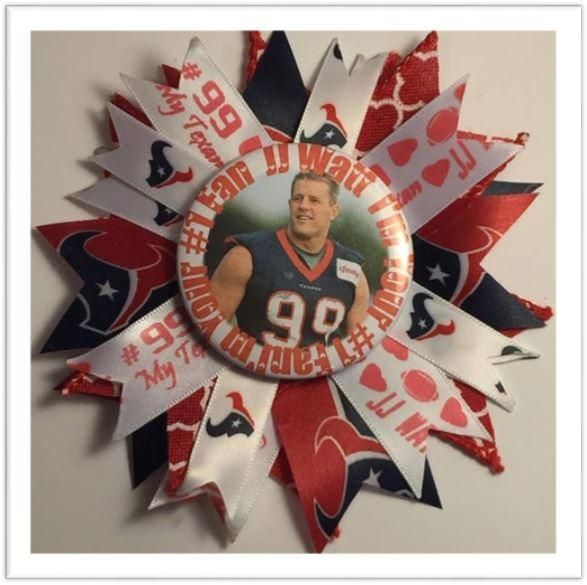 "JJ Watt Pin On 5"" Ribbon Button.  Wear as a pin on your jersey or wear it in your hair with a hair clip or pony tail holder. We can apply a magnet too! Let us k"