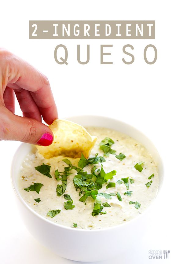 All you need are 2 easy ingredients and 5 minutes to make this delicious, creamy queso dip! | gimmesomeoven.com