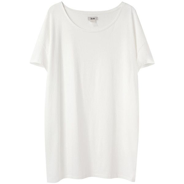 Acne Above Cotton Oversized Tee (€97) ❤ liked on Polyvore featuring tops, t-shirts, shirts, dresses, long t shirts, cap sleeve t shirt, white tee, white t shirt and loose fit t shirts