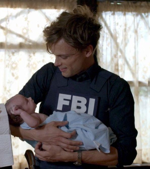 """Hot.. Dr. Reid holding baby <em><a href=""""http://www.cbs.com/shows/criminal_minds/"""">Criminal Minds</a></em><br /> Season 9, Episode 7 <a href=""""http://www.cbs.com/shows/criminal_minds/episodes/212573/"""">""""The Gatekeeper""""</a><br /> <br /> Tune into <em><a href=""""http://www.cbs.com/shows/criminal_minds/"""">Criminal Minds</a></em> on Wednesdays at 9/8c"""