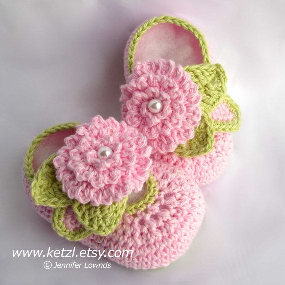 Crochet pattern supplies girls booties with flower leaves and pearl centers cute pdf Instant Digital Download