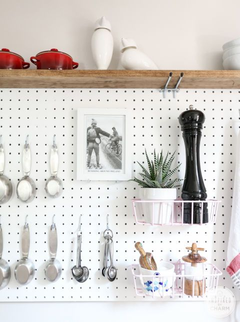 Adding pegboards to your kitchen instantly adds so much space — no longer will your pepper grinder and mortar and pestle take up endless counter space, and your drawers will thank you for moving the measuring cups. studio kitchen